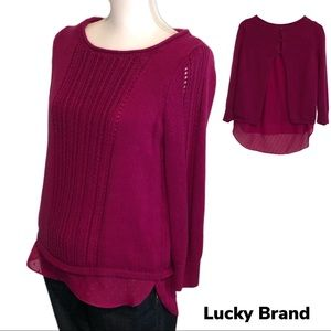 Lucky Brand Knit Sweater Sheer Underlay